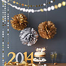 Metallic Hanging Pom Pom Decoration