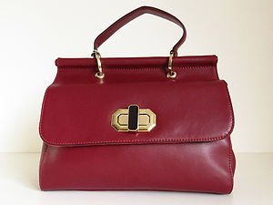 Red Leather Twist Lock Handbag - bags & purses