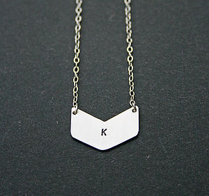 Personalised Chevron Silver Necklace