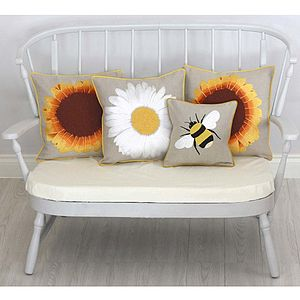 Daisy, Bee And Sunflower Cushions - cushions