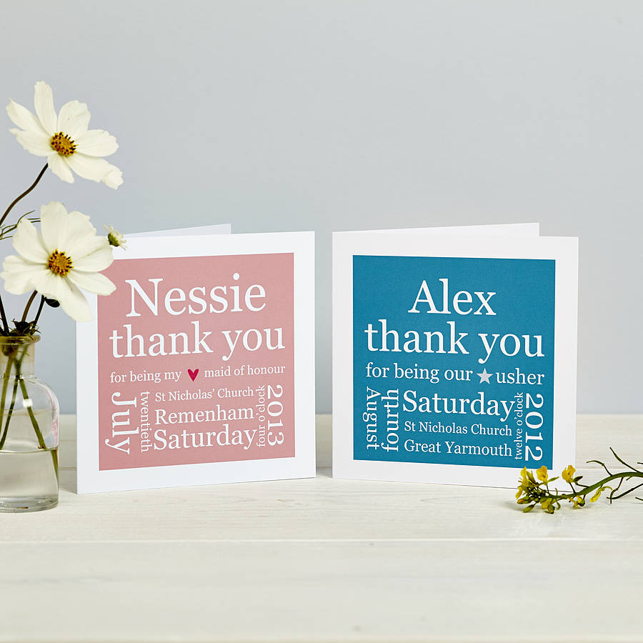 personalised wedding thank you card by spotty n stripy