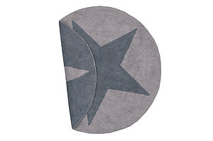 Brown And Taupe Reversible Washable Star Rug