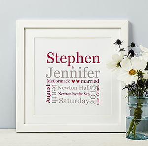 Personalised Wedding Typographic Print - 100 best wedding prints