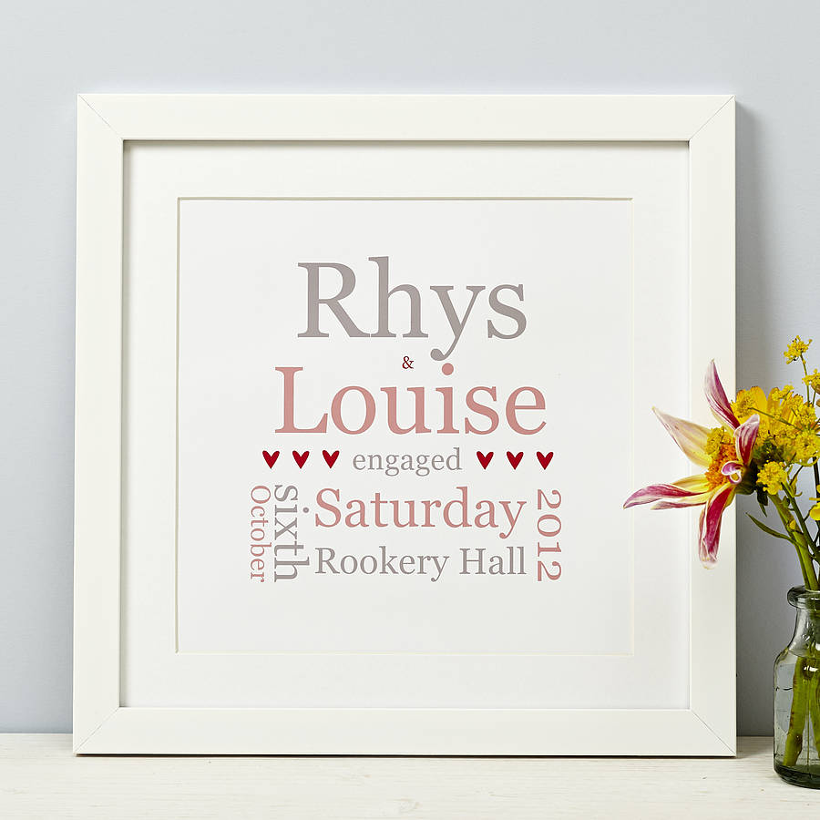 personalised typographic engagement print by spotty n stripy ...