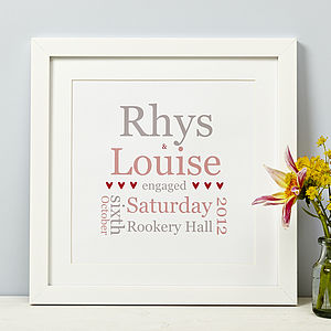 Personalised Typographic Engagement Print - prints & art sale