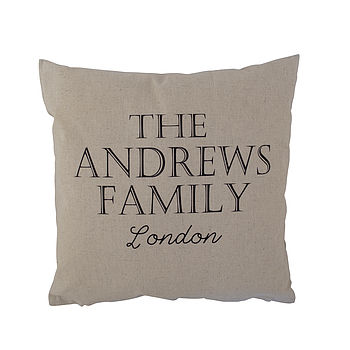 Personalised Family Linen Cushion