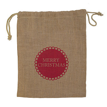 Merry Christmas Jute Sack