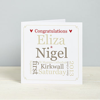 Personalised Wedding Details Card