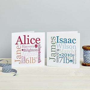 Personalised New Baby Card: Pink Or Blue