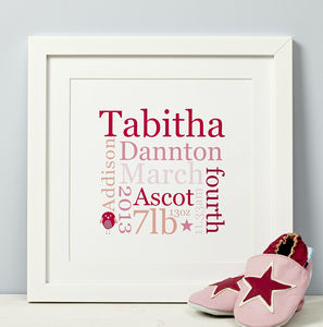 Personalised New Baby Typographic Print - nursery pictures & prints