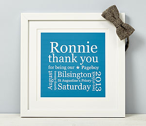 Personalised Pageboy Thank You Print - wedding thank you gifts