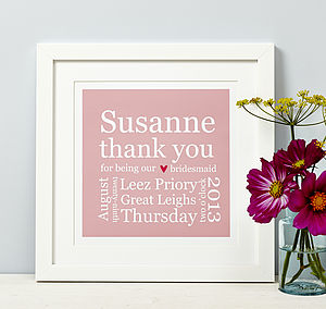 Personalised Bridesmaid Thank You Print - wedding thank you gifts