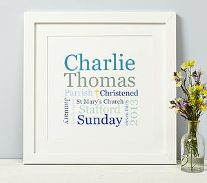 Personalised Christening, Baptism Or Naming Day Print - children's pictures & paintings