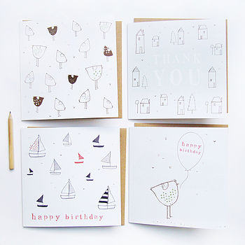 Greetings Cards, Set Of Four