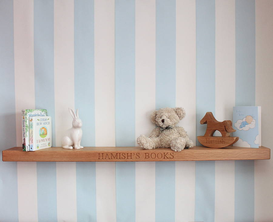 nursery floating shelves personalised nursery oak floating shelf by house of 1118