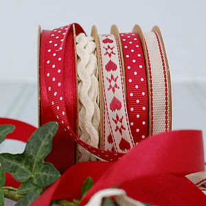Set Of Five Rolls Of Christmas Ribbon