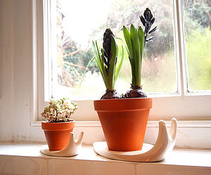 Sweet Home Snail Plant Pot And Saucer Large - pots & planters