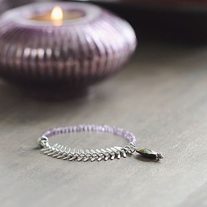 Amethyst And Spine Chain Bracelet