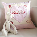 peronalised girls cushion with teddy bear