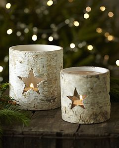 Set Of Two Birch Star Candle Holders