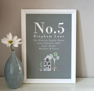 Personalised Family Home Print - new home gifts