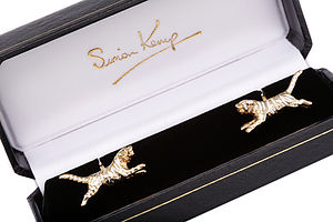 Gold And Silver Tiger Cufflinks - cufflinks