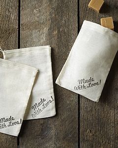 Three Hand Stamped 'Made With Love' Gift Bags - favour bags, bottles & boxes
