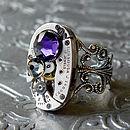 Watch Movement Silver Filigree Ring