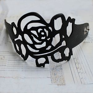 Filigree Leather Cuff Bracelet