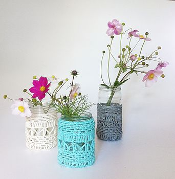 Turquoise, Light Grey and Pale Yellow Lace Covered Vases and Lanterns