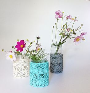 Organic Cotton Lace Vase And Candle Holder - vases