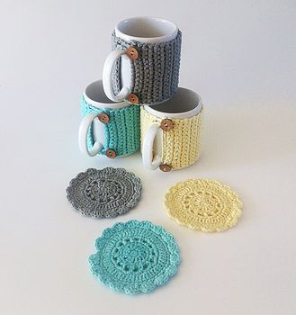 Pale Yellow, Light Grey and Turquoise Mug Cosies and Coasters