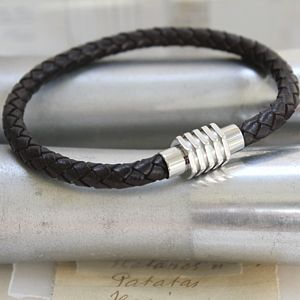 Mens Leather Bracelet With Contempoary Clasp