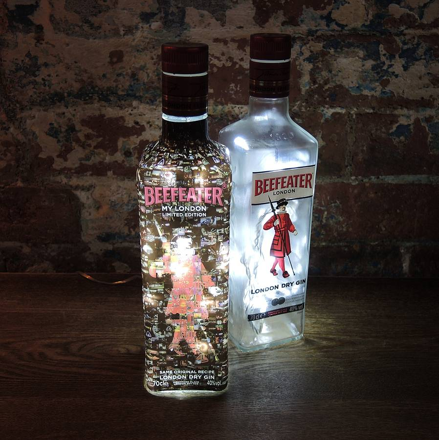 upcycled beefeater gin bottle lamp by upcycled creative