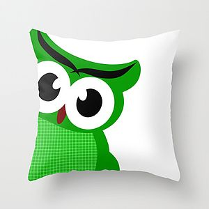 Green Owl Cushion Cover - children's room