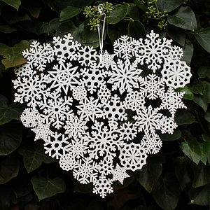 Large Laser Cut Snowflake Heart Decoration