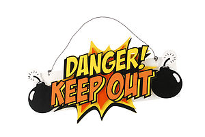 'Danger Keep Out' Door Hanger - children's room accessories