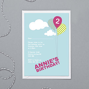 Personalised Balloon Invitations - children's parties