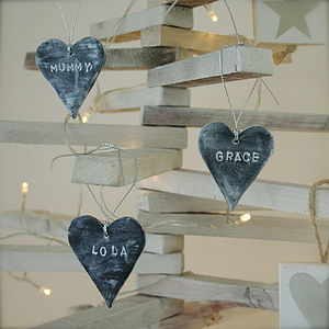 Personalised Slate Effect Heart Decorations - tree decorations