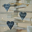 Mini Personalised Slate Effect Heart Decoration