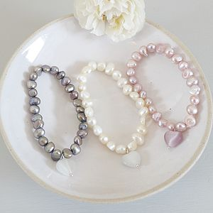 Girl's Pearl Bracelet With Heart