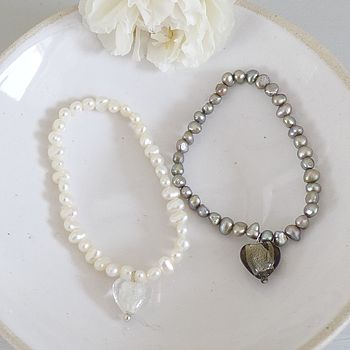 Girl's Rice Pearl Bracelet With Heart