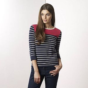 Coral Neck Stripy Top - tops & t-shirts