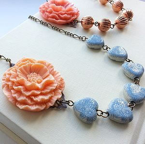 Flower Necklace With Vintage Beads