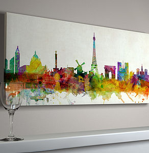 Paris France City Skyline - canvas prints & art