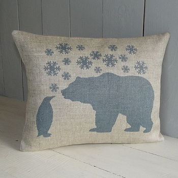 ' Polar Bear And Penguin ' Cushion