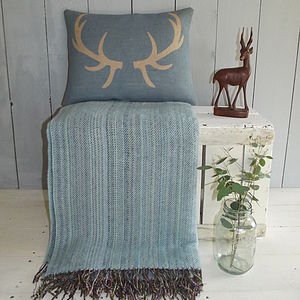 Antler Cushion And Sky Blue Wool Throw