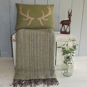 ' Moss Lichen ' Tweed Throw And Antler Cushion - cushions
