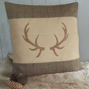 Antler Tweed And Hessian Floor Cushion