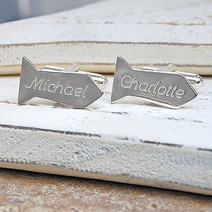 Personalised Silver Tie Shaped Cufflinks - cufflinks